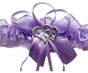 XXL Strumpfband Braut lila flieder mit Schleife Herzchen Silbernaht Hochzeit EU