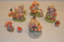 Sweet Harvest Hearts Set of 7 pieces Enesco Lot Thanksgiving Fall Autumn Figures