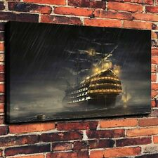 Sailing The Sea Rain Art Print Oil Painting on Canvas Home Wall Decor (Unframed)