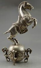 8.78 inch/China collection of old Tibet silver globe statues carved by hand