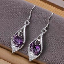 925  Sterling  Silver Plated  Drop Earrings +   Bag UK  Purple Crystal