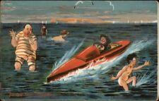 Donadini Jr. Speed Boat Scares Bathers Swimmers c1910 Postcard