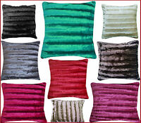 New Home Furnishing Luxuriously Soft Shiny Stripe Faux Fur Cushion Cover 45x45cm