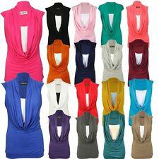 Neue Frauen Plus Size Wasserfallausschnitt einfügen Weste Ärmellose Shirts