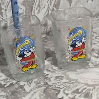 2 x McDonald's 2000 Walt Disney World Celebration Glass Epcot Mickey Mouse