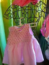 adorable robe rose   en lin  +culotte ,doublée smocks +maillot offert