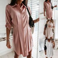 Damen Sommerhemd einfarbiges langes Hemd unregelmäßiger Knopf Damenhemd S/H