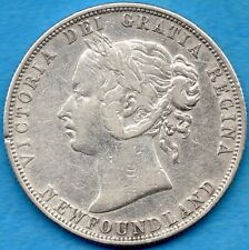 Canada Newfoundland 1888 50 Cents Fifty Cents Silver Coin - VF (cleaned marks)