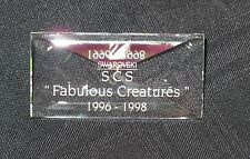 New In Box Swarovski Scs Fabulous Creatures Crystal Plaque 1996-1998