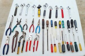 ~LOT OF 37 HAND TOOLS~Vise Grip Adjustable Wrench Slip Joint Needle Nose Pliers!