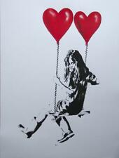 "JPS     *LIMITED PRINT*    ""Girl on A Swing with Balloons""     STREET ART   2013"