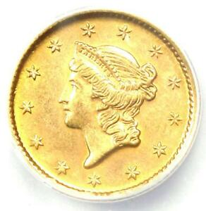 1853 Liberty Gold Dollar G$1 - Certified ANACS MS60 Details (UNC) - Rare Coin!