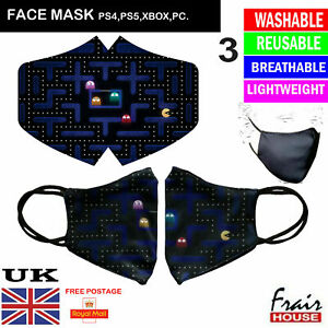 Face Mask Pac Man Reusable Breathable Washable Double layer Protection Cover UK