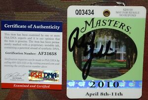 PHIL MICKELSON Signed 2010 MASTERS Badge *Low # *PSA/DNA