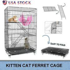 3-Tier Ferret Cat Cage Portable Cat Home Fold Pet Cat Mesh Playpen 24X17X39 Inch