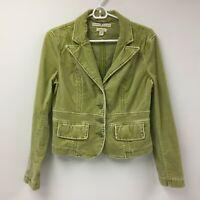 Tommy Hilfiger Stretch Women's Velvet Blazer Jacket Medium Green Velour Career