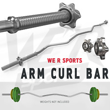 """Arm Curl Bar Weight Lifting With Spinlock Collars Home Gym Fitness Ez 1"""" Barbell"""