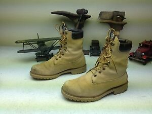 DISTRESSED VINTAGE WOLVERINE USA AMBER BLONDE LEATHER ENGINEER JUNGLE BOOTS 8 M