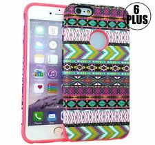 iPhone 6+ / 6S+ Plus HARD GUMMY RUBBER HYBRID CASE COVER PINK MINT GREEN AZTEC