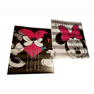2x Disney Mickey & Minnie 3-Ring Binder File Portfolio Poly Folders w Pockets