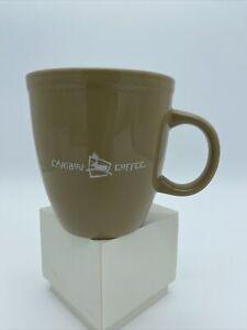 "Caribou Coffee - oversized tan 14 oz mug - ""Life is short. Stay awake for it"""