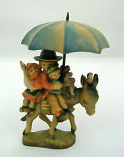 "Anri Ferrandiz 3"" Wooden Figurine Riding Thru The Rain - Children On Donkey"