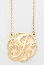 "Monogram Initial Necklace GOLD Letter J Script Circle 1.5""Pendant Personalized"