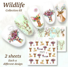 2 Pack Stag with Flowers Nail Decals Water Stickers Wraps Winter Nails A1290