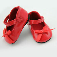 Handmade Red Flats Shoes w/Bow For 18 inch General Girl Party Doll NICE Clo T8G5