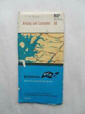 Vintage Bartholomew's Half Inch Contoured Map on Paper #50 Arisaig & Lochaber