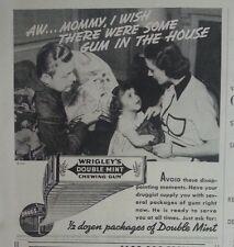 1937 Wrigleys Double Mint Chewing Gum Little Girl Moms Purse Original Ad
