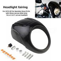Black Round Headlight Head Lamp Fairing For Harley Sportster Dyna FX/XL Bobber