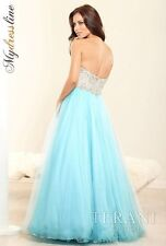 TERANI COUTURE NEW Blue Embellished Strapless Princess Formal Dress Gown 10