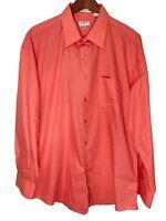 Gioberti Mens XL Long Sleeve Button Front Salmon Shirt Italy