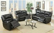 Black Bonded Leather Reclining Motion Sofa Set Sofa Loveseat Glider Recliner New