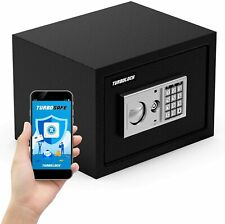 TurboSAFE Smart Safe Box w/ App/Tamper Alert Override Keys for Gun Safety & Home