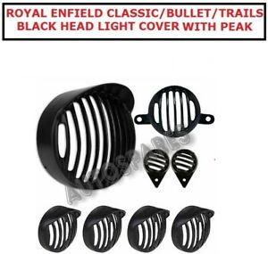 ROYAL ENFIELD CLASSIC/BULLET/TRAILS BLACK HEAD LIGHT COVER WITH PEAK