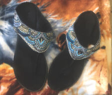 ROPER Leather Beaded Womens Size 7 Black Blue Silver Gold EUC