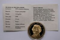 USA THOMAS JEFFERSON AMERICAN MINT GOLD PLATED MEDAL B29 CG31