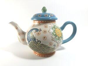 Dutch Wax Peacock Mandala Ceramic Teapot