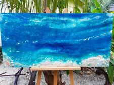 Beautiful Coastal Scene Painting - Sea Glass Sand Shells Ink 48 x 24 inch