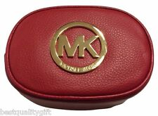 NEW-MICHAEL KORS FULTON SCARLET RED LEATHER+GOLD TONE TRAVEL POUCH,COSMETIC BAG