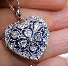 "DIAMOND HEART LOCKET PENDANT 925 STERLING SILVER FILIGREE 18"" Chain HEAVY"