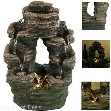 Waterfall Stone Water Tabletop Fountain LED Natural Look Decor Home Living Room