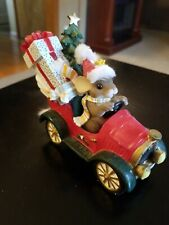 Charming Tails Christmas Mouse Driving Red Car With Presents & Tree