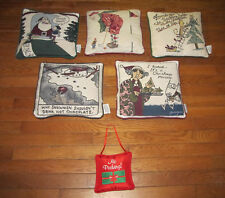 6 Holiday Christmas Throw Pillows by Shoebox Hallmark Santa Golf Snowman Tree