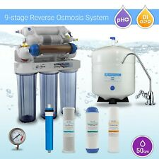 9 Stage Home RO DI Reverse Osmosis Water Filter System , Alkaline, Mineral, PH