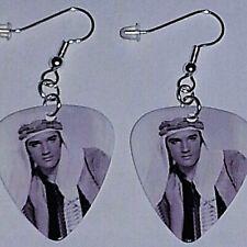 """Plated Dangle Jewelry """"Harum Scarum"""" Elvis Presley Guitar Pick Earrings Silver"""