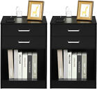 Black+Nightstand+with+Charging+Station+Bedroom+Storage+Stand+Cabinet+Set+of+2