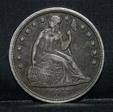 1847-P $1 SEATED LIBERTY DOLLAR ✪ XF EXTRA FINE ✪ EXTRA METAL ATTACHED ◢TRUSTED◣